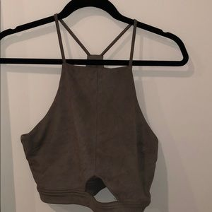 Suede crop top with cut out